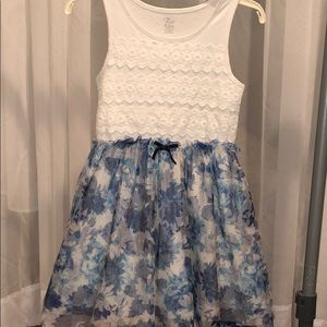 Girls Blue and White Lace Dress